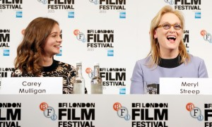 "LONDON, ENGLAND - OCTOBER 07:  Actresses Carey Mulligan and Meryl Streep attend the ""Suffragette"" press conference during the BFI London Film Festival at The Lanesborough Hotel on October 7, 2015 in London, England.  (Photo by John Phillips/Getty Images for BFI)"
